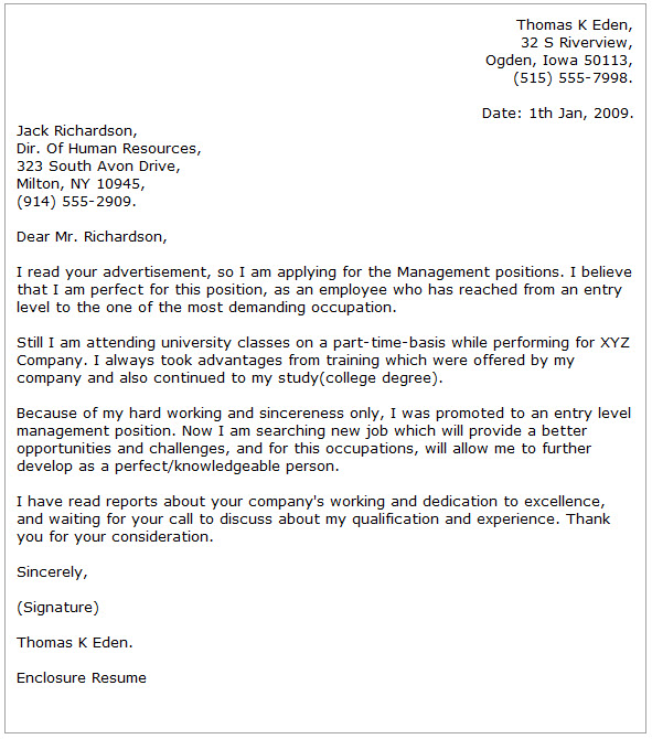 Management Cover Letter Examples - Cover Letter Now - cover letter for management position
