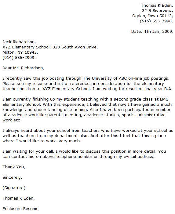 Elementary Teacher Cover Letter Examples - Cover Letter Now - enclosure cover letter