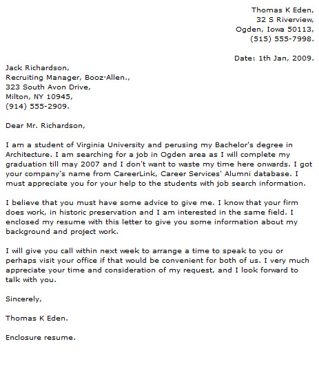 Student Cover Letter Examples - Cover Letter Now - enclosed is my resume