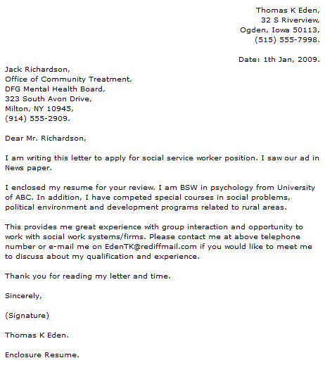 Social Work Cover Letter Examples - Cover Letter Now - enclosed is my resume