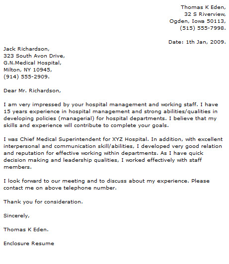 Medical Cover Letter Examples - Cover Letter Now - enclosure cover letter