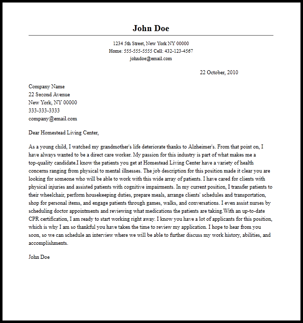 Professional Direct Care Worker Cover Letter Sample. SaveEnlarge
