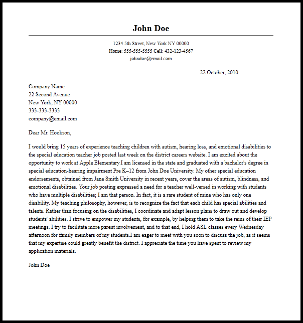 job application letter for teacher aide for special needs 283 cover letter templates for any job