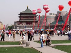 Xi'an's Bell Tower in May 2005. The Drum and Bell towers have served the city since the AD1300s.