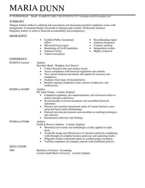 Top Professionals Resume Templates Samples Auditor Cv Example For Accounting Finance Livecareer