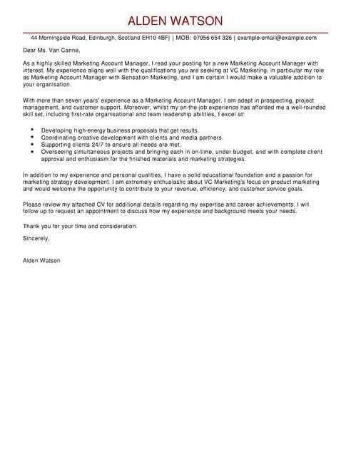 Account Manager Cover Letter Examples for Marketing LiveCareer - marketing cover letter