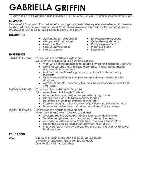 Compensation And Benefits CV Example for Human Resources LiveCareer - compensation plan template