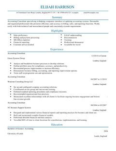 Cv Templates Cv Template Consultant Cv Example For Accounting Finance Livecareer