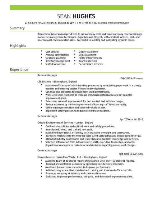 Resume Templates Cover Letter Sample Resume And Cover Letter Templates Australia Sample General Manager Cv Example For Management Livecareer