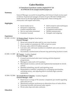 Employment 911 Resume Writing Resume Posting Job General Manager Cv Example For Sales Livecareer