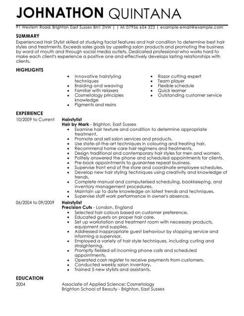 Hair Stylist Resume Examples - Examples of Resumes - hair dresser resume