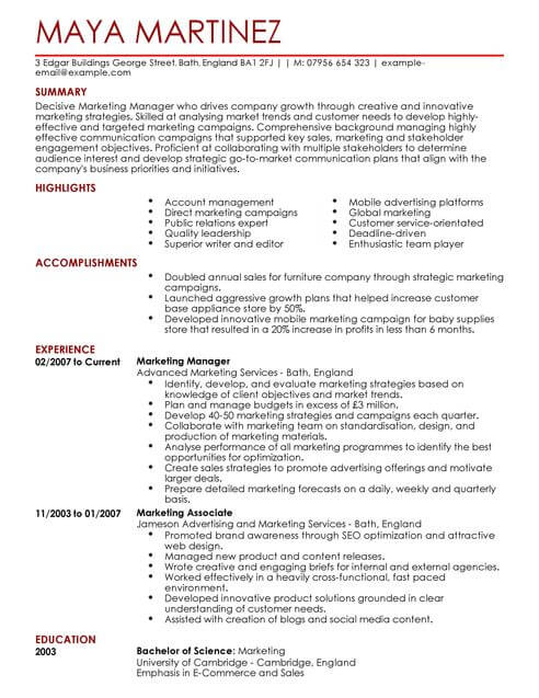 How To Write A Good Cv Europa Pages Marketing Manager Cv Example For Marketing Livecareer