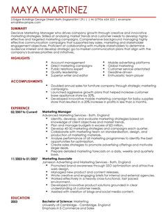 Sales Position Resume Templates Salesperson Resume Sample Myperfectresume Marketing Manager Cv Example For Marketing Livecareer