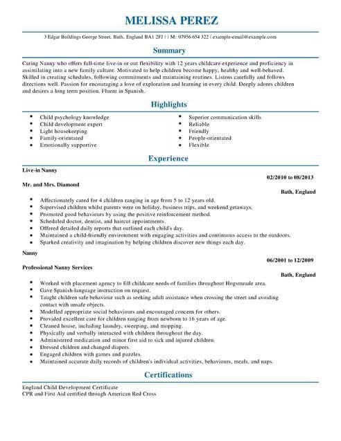 sample resume nanny