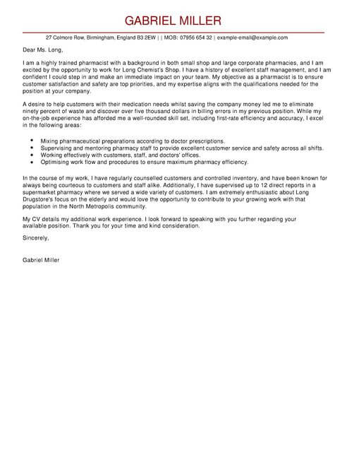 cover letter for pharmacy school