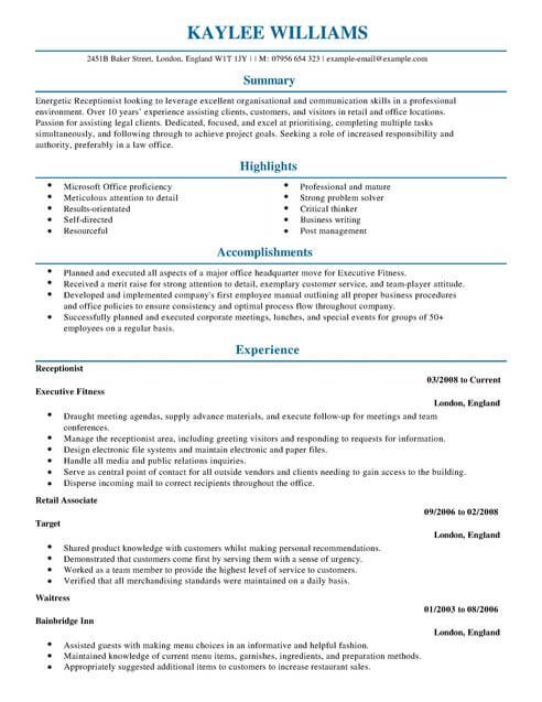 Medical Receptionist Resume Profile