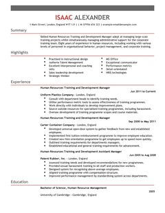 Human Resources Resume Sample Resume World Training And Development Cv Example For Human Resources