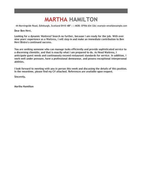 Waitress Cover Letter Examples for Restaurant Bar LiveCareer - cover letter for restaurant job