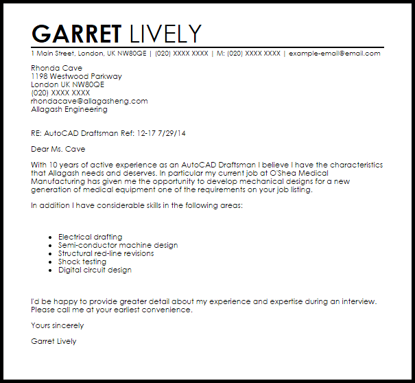 Heres A Real Life Example Of A Great Cover Letter With Autocad Draftsman Cover Letter Sample Livecareer
