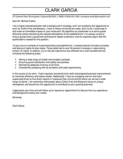 Bartender Cover Letter Examples for Restaurant Bar LiveCareer - cover letter for restaurant job
