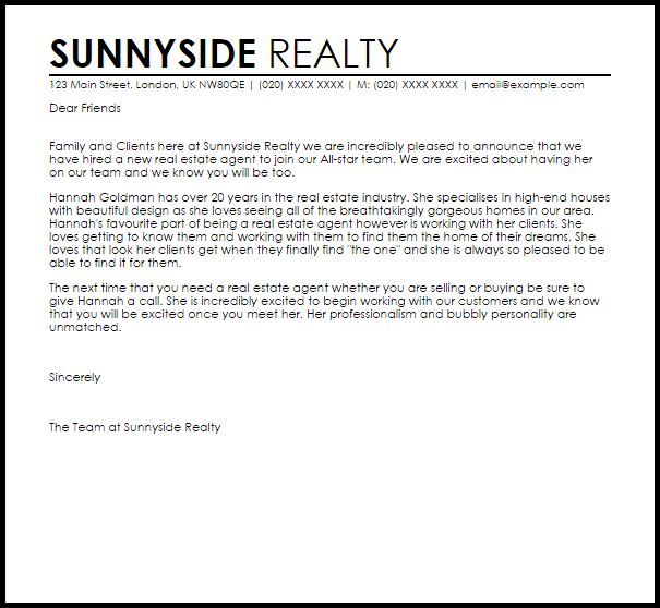 Example Of Cover Letter In Email Heres A Real Life Example Of A Great Cover Letter With New Real Estate Agent Announcement Letter Livecareer