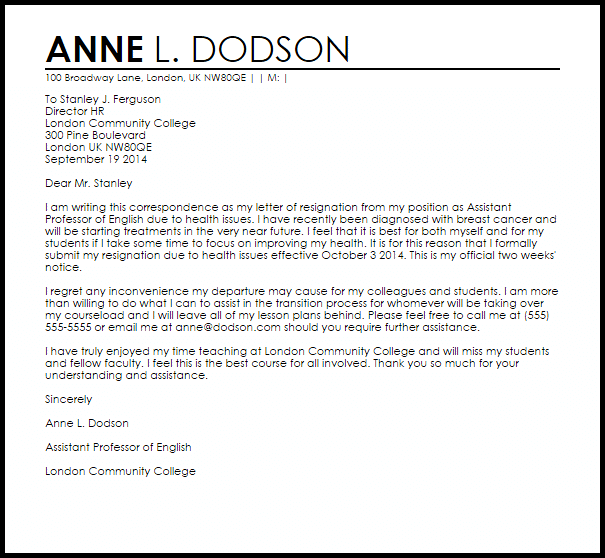 Professional Resignation Letter Template Examples Resignation Letter Due To Health Resignation Letters