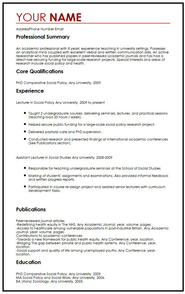 Academic CV Example MyperfectCV - academic cv