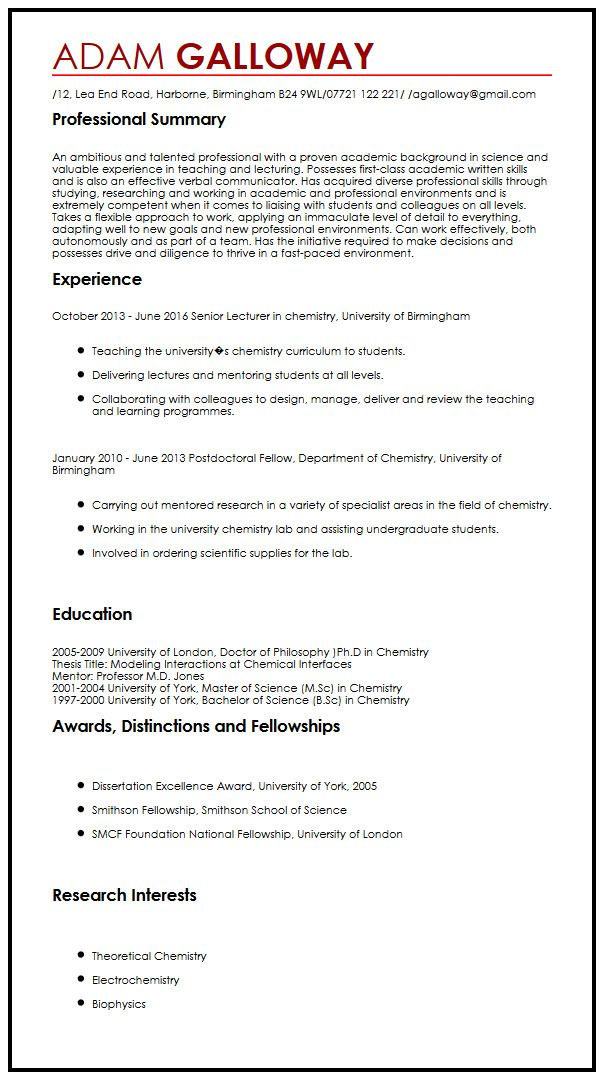 Sample Curriculum Vitae Academic Curriculum Vitae Cv Format The Balance Cv Dissertation Summary Write My Phd Dissertation