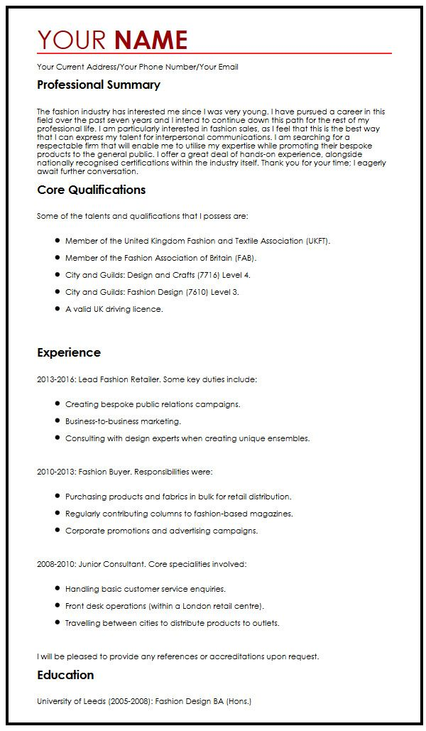 Best CV Sample MyperfectCV - cv document