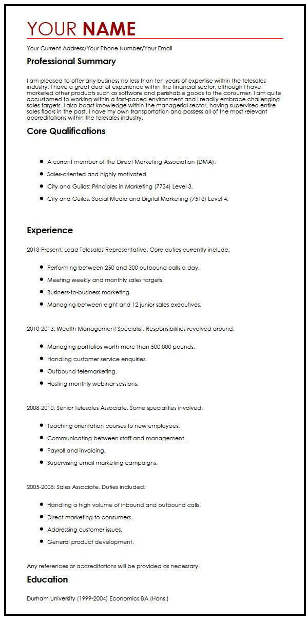 Chronological CV Sample MyperfectCV