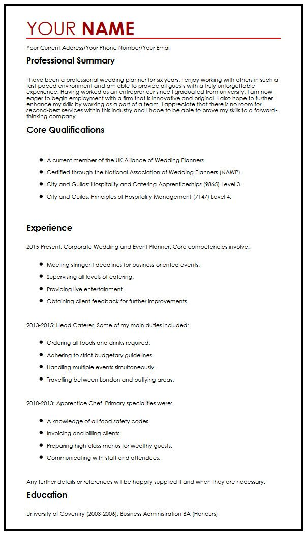 ... Creative CV Sample MyperfectCV   Wedding Consultant Cover Letter ...