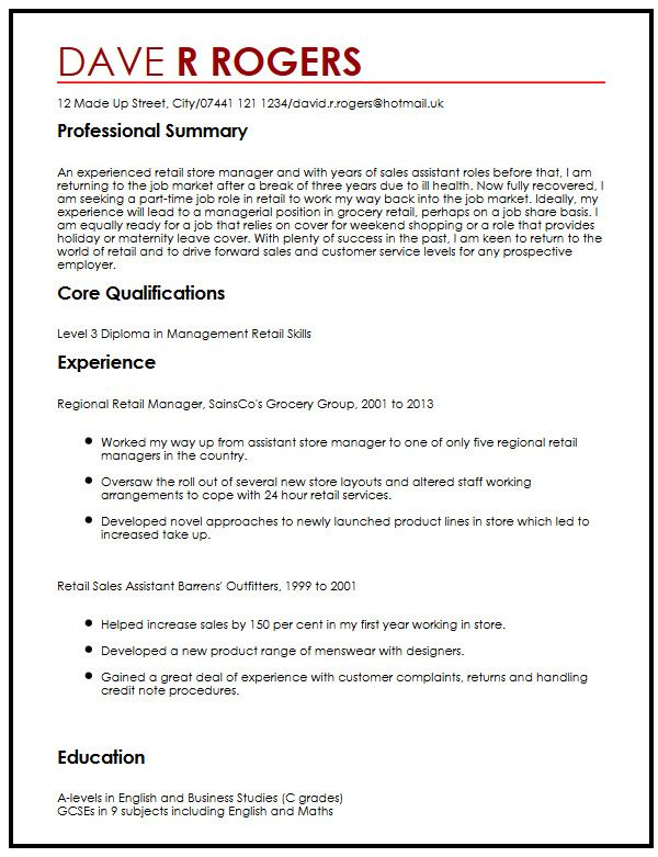 CV Example for an Unsolicited Application MyperfectCV