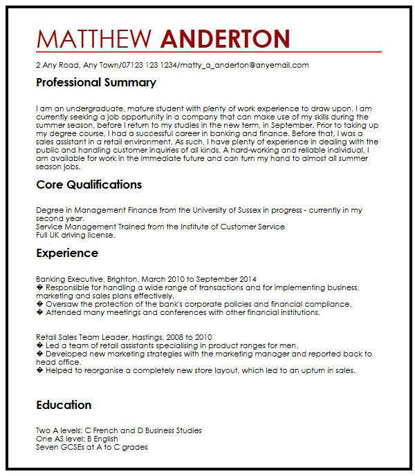 CV Example for a Part-Time Job MyperfectCV
