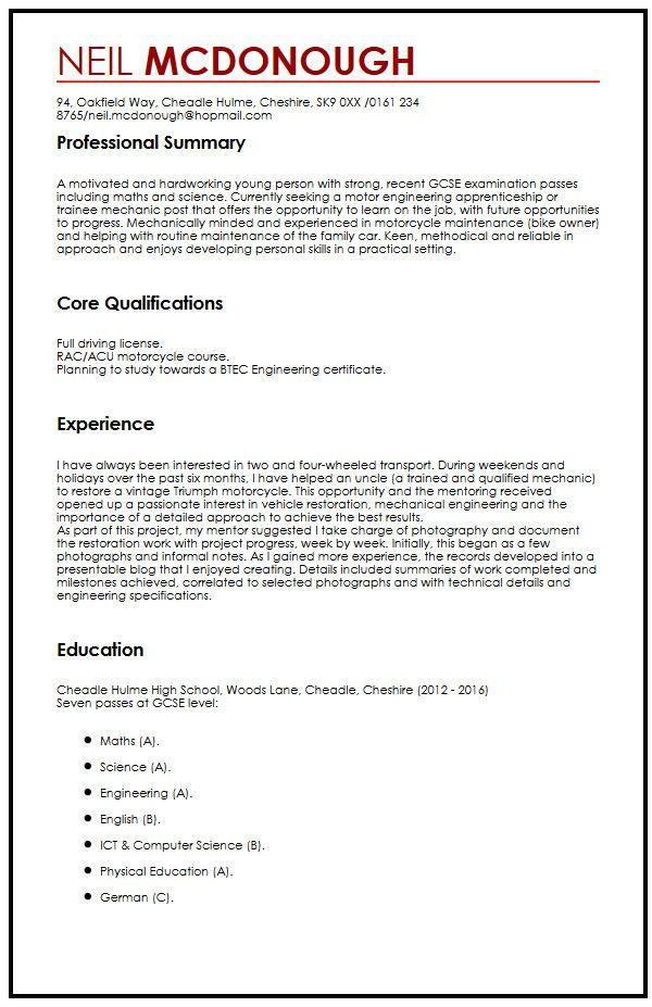 Academic Cv Template Careers Advice Jobsacuk Cv Example For High School Students Myperfectcv