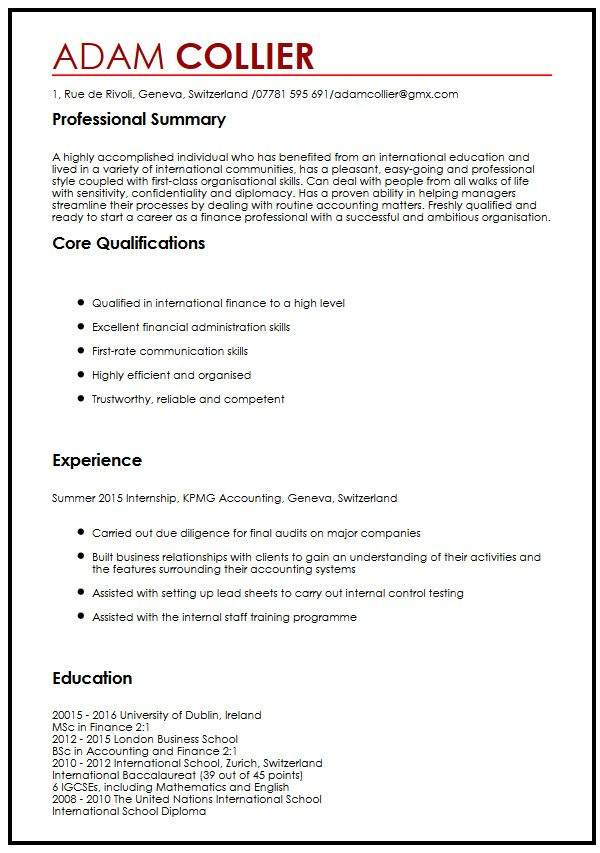 18 Professional Cv Templates And Examples Hloom Cv Example For International Studentsmyperfectcv