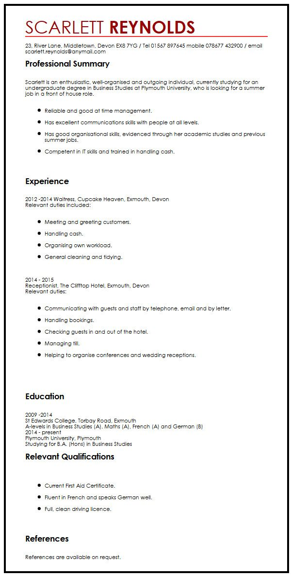 Cv Examples Uk First Job - fius