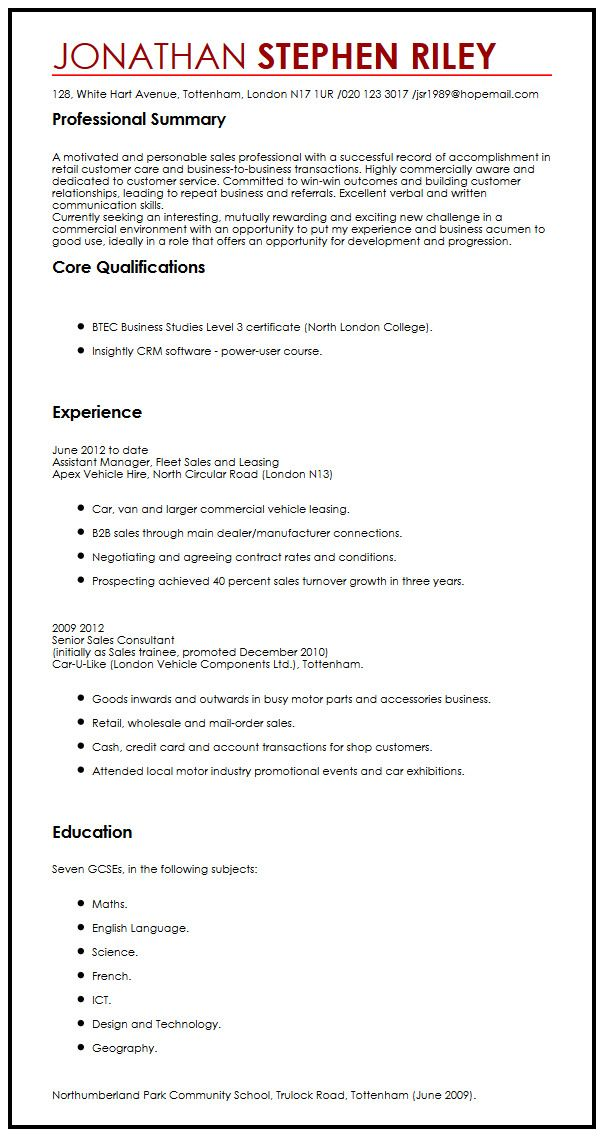 cv for summer job - Towerssconstruction