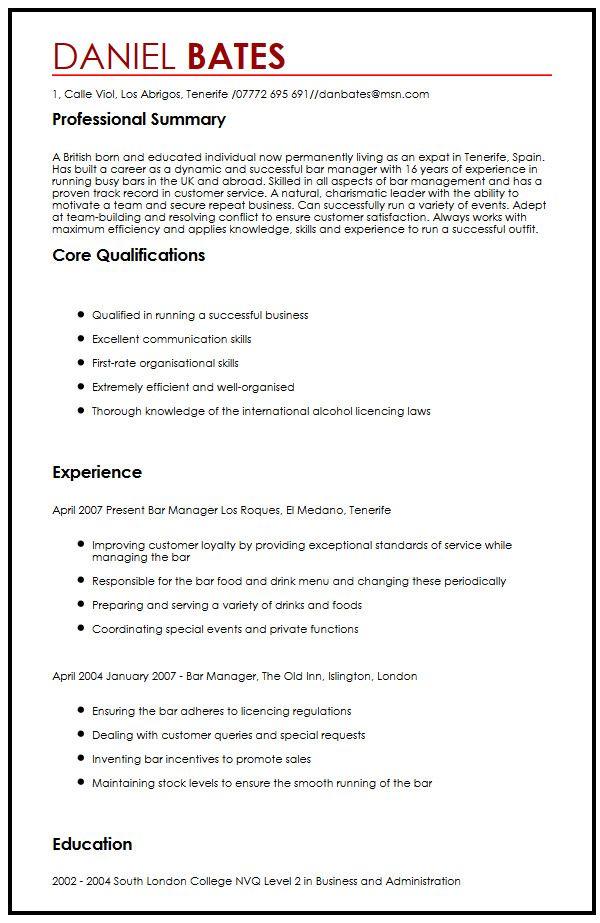 Bar Job Cv | ophion.co
