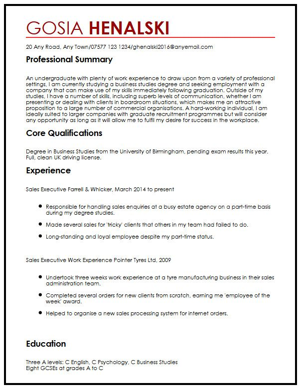 How To Write An Academic Cover Letter With Examples Cv Sample For University Students Myperfectcv