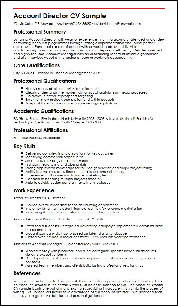 Account Director CV sample MyperfectCV - commercial manager sample resume