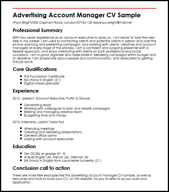 account manager cv example - Ozilalmanoof