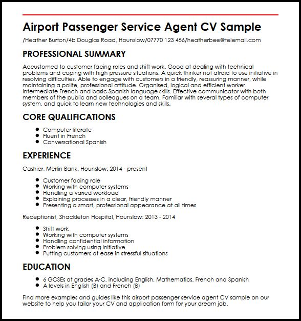 Airport Passenger Service Agent CV Sample MyperfectCV
