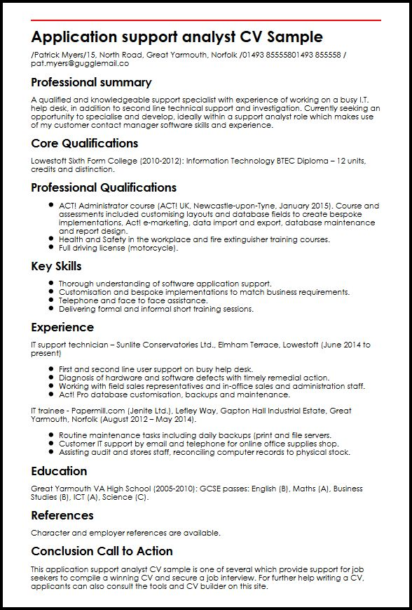 Application support analyst CV Sample MyperfectCV - software support analyst sample resume