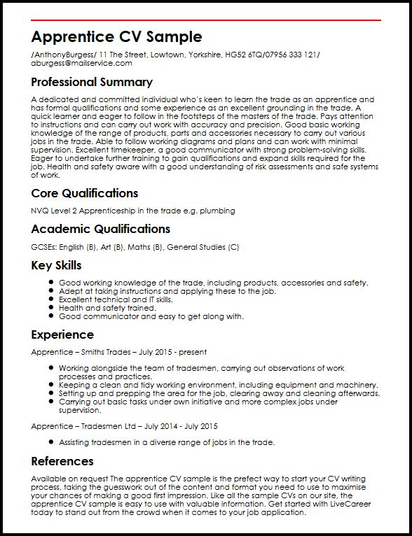 Apprentice CV Sample MyperfectCV - examples of cv