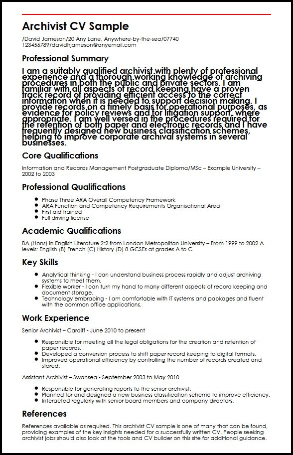 Archivist CV SampleMyperfectCV