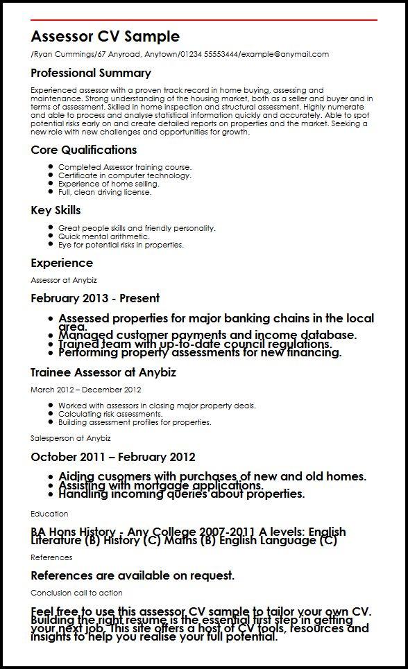 Assessor CV Sample MyperfectCV - driver trainer sample resume