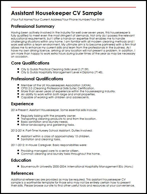 Assistant Housekeeper CV Sample MyperfectCV