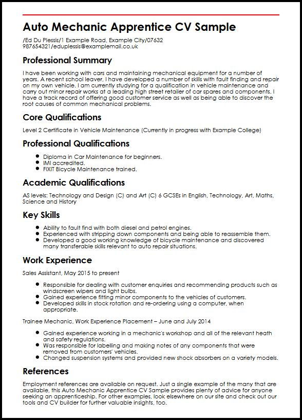 Auto Mechanic Apprentice CV Sample MyperfectCV