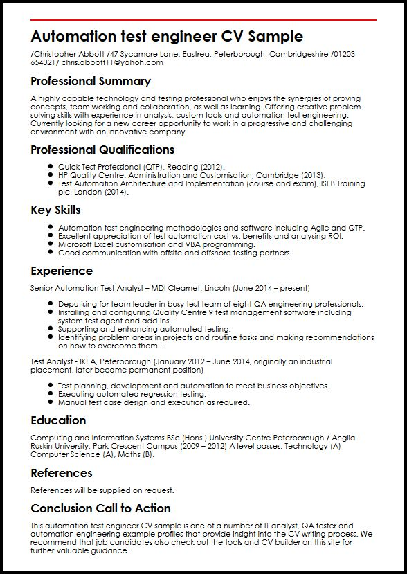 Automation test engineer CV Sample MyperfectCV - good engineering resume