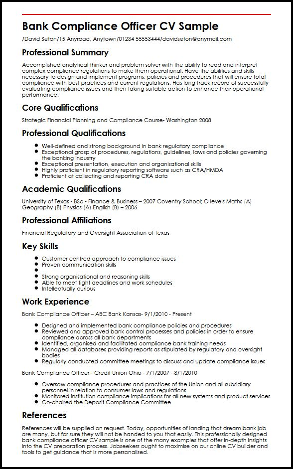Credit administrator sample resume - Compliance officer bank job description ...